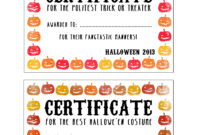 Halloween Certificates ! Give Them Out To Trick O' Treaters in Halloween Costume Certificate Template