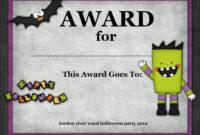 Halloween Costume Award | Halloween Costume Contest with Halloween Costume Certificate Template