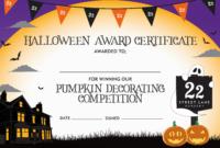 Halloween Pumpkin Decorating Competition Certificate In Halloween Costume Certificate Template