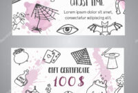 Hand Drawn Halloween Banner Free Voucher Template. Ghost intended for Halloween Certificate Template