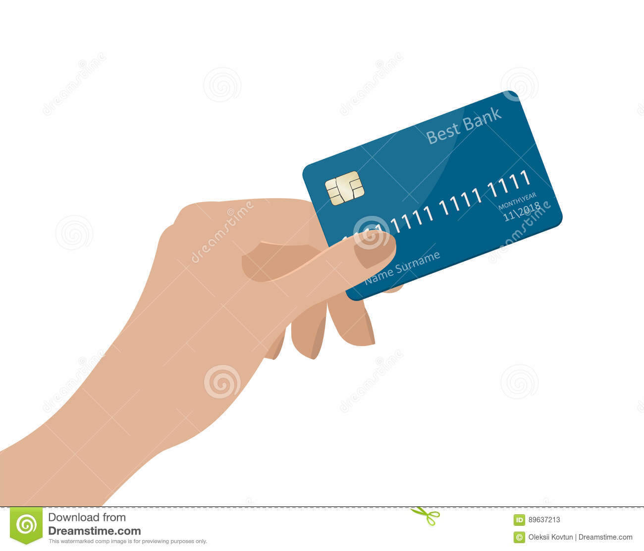 Hand Holding Credit Card. Vector Illustration. Isolated On Intended For Credit Card Templates For Sale