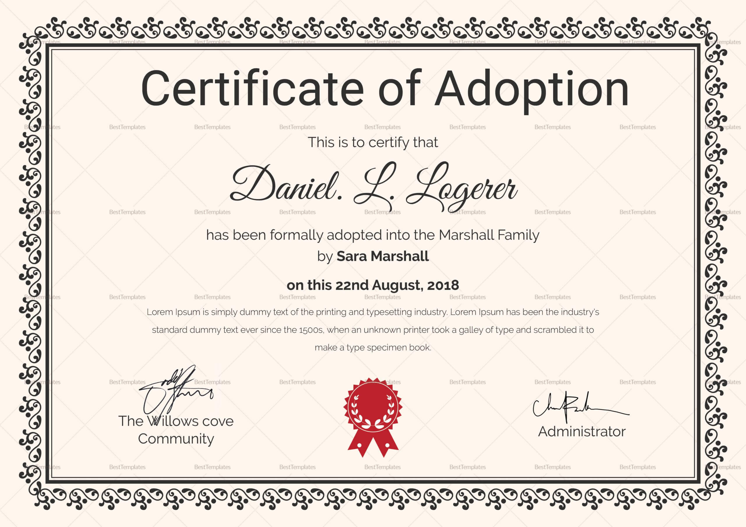 Happy Adoption Certificate Template | Adoption Certificate Intended For Adoption Certificate Template