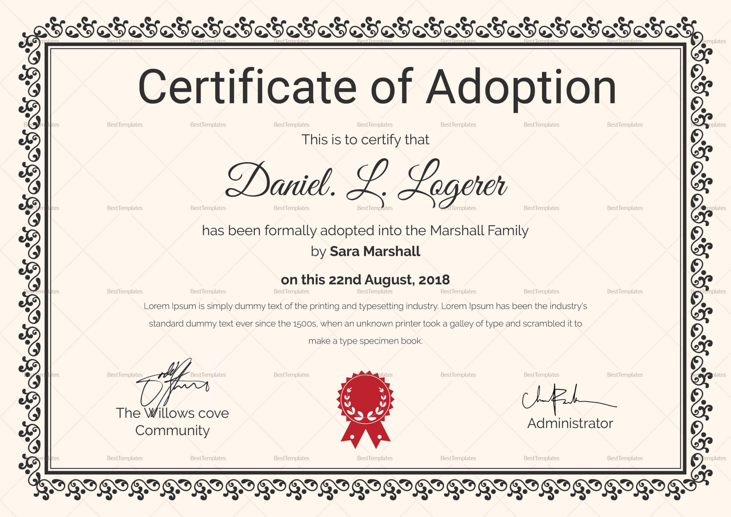 Happy Adoption Certificate Template | Adoption Certificate Intended For Adoption Certificate Template
