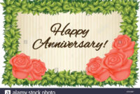 Happy Anniversary Card Template With Red Roses Illustration in Template For Anniversary Card