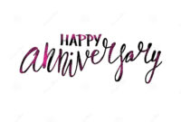 Happy Anniversary Text. Vector Word With Decor Stock Vector with Anniversary Card Template Word