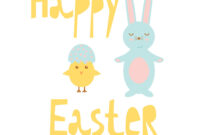 Happy Easter Greeting Card Template With Bunny And With Regard To Easter Chick Card Template