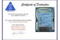 Hard Drive Destruction Certificate Template in Destruction Certificate Template