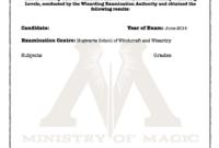 Harry Potter O W L S Certificate Blank Template Hogwarts throughout Harry Potter Certificate Template