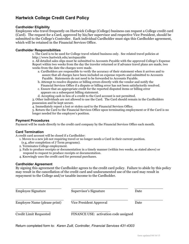 Hartwick College Credit Card Policy For Corporate Credit Card Agreement Template