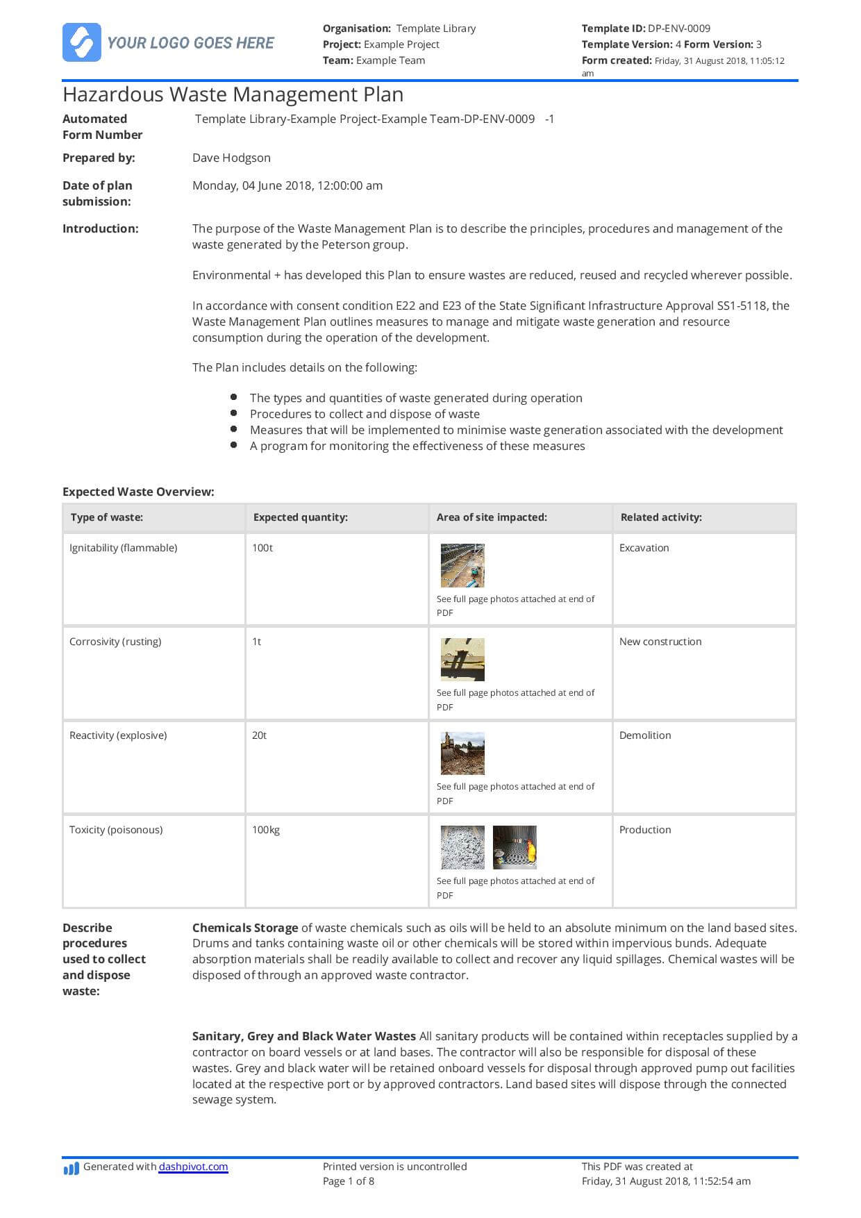 Hazardous Waste Management Plan Template - Free And Editable Intended For Waste Management Report Template