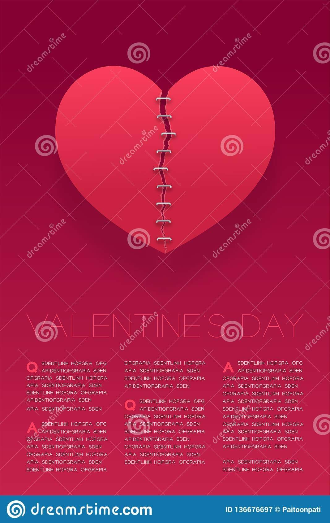 Heart Paper Tear Repairstaples, Valentine`s Day Concept Within Staples Banner Template
