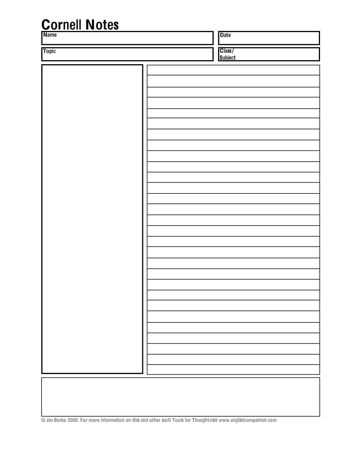 Helping Students Take Better Notes (Teacher Analysis In Note Taking Template Word