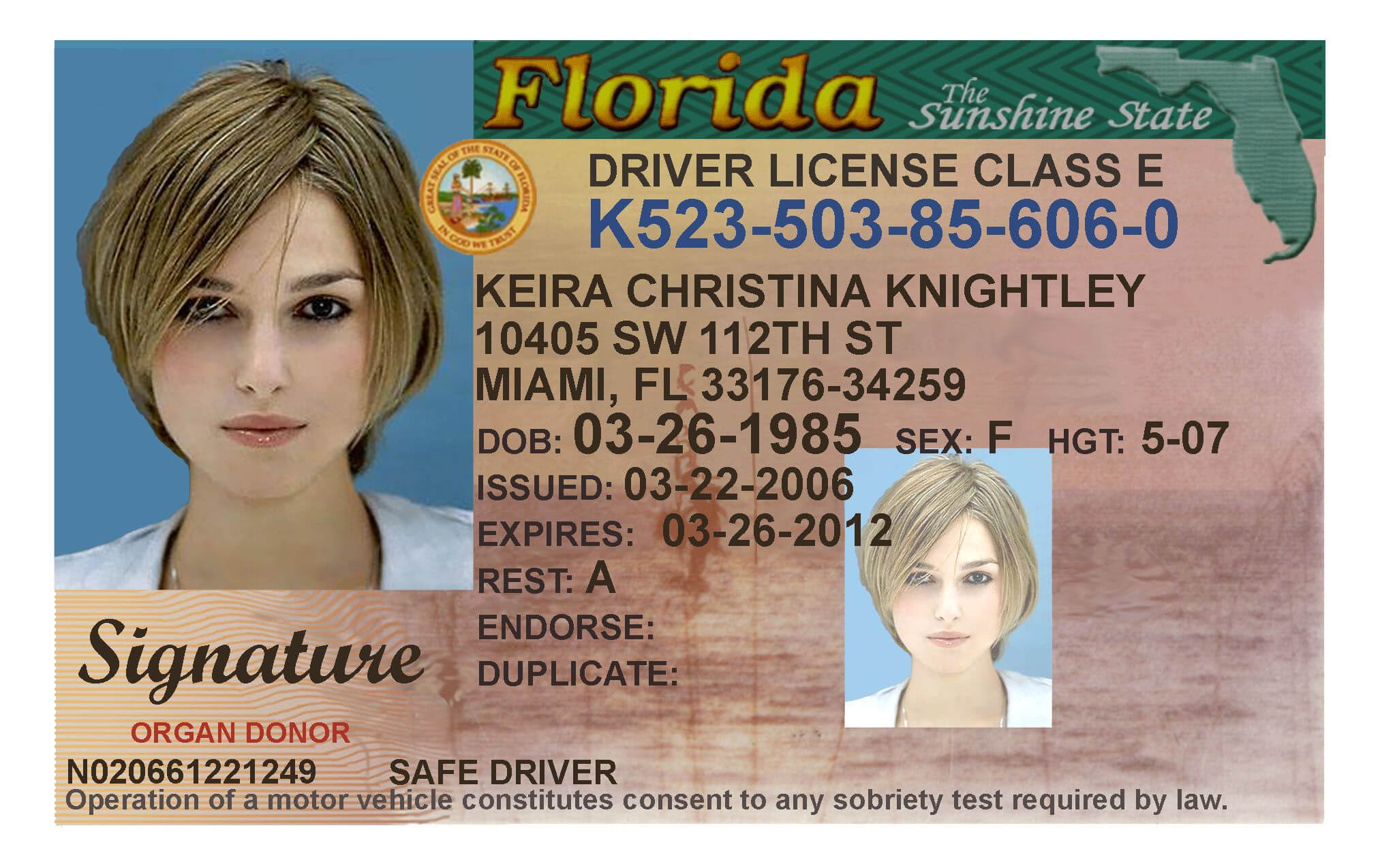 Here's A Sample Of A Fake Florida Id Card That's Solda Intended For Florida Id Card Template
