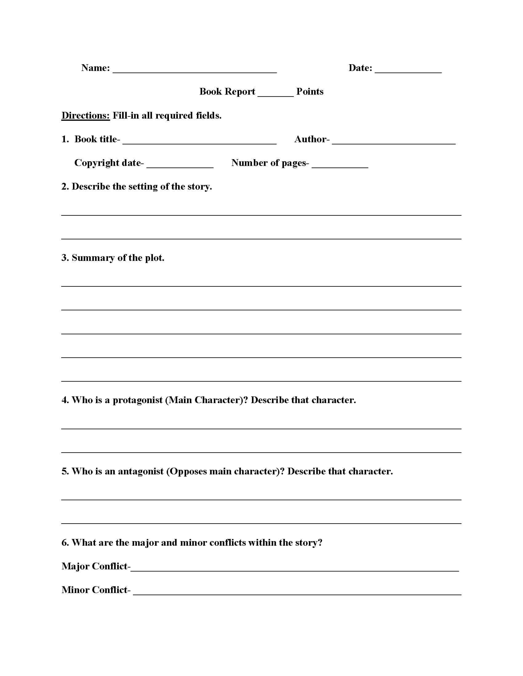 High School Book Report Worksheets | High School Books With High School Book Report Template