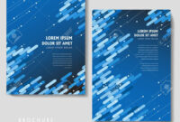 High-Tech Brochure Template Design With Blue Geometric Elements inside Technical Brochure Template