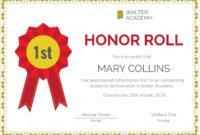 Honor Roll Certificate Template | Certificate Templates with regard to Honor Roll Certificate Template