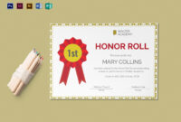 Honor Roll Certificate Template for Honor Roll Certificate Template