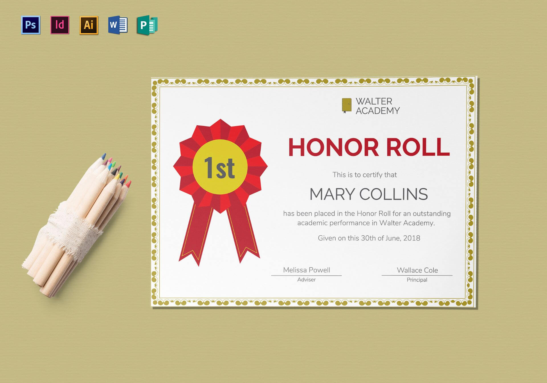 Honor Roll Certificate Template With Indesign Certificate Template