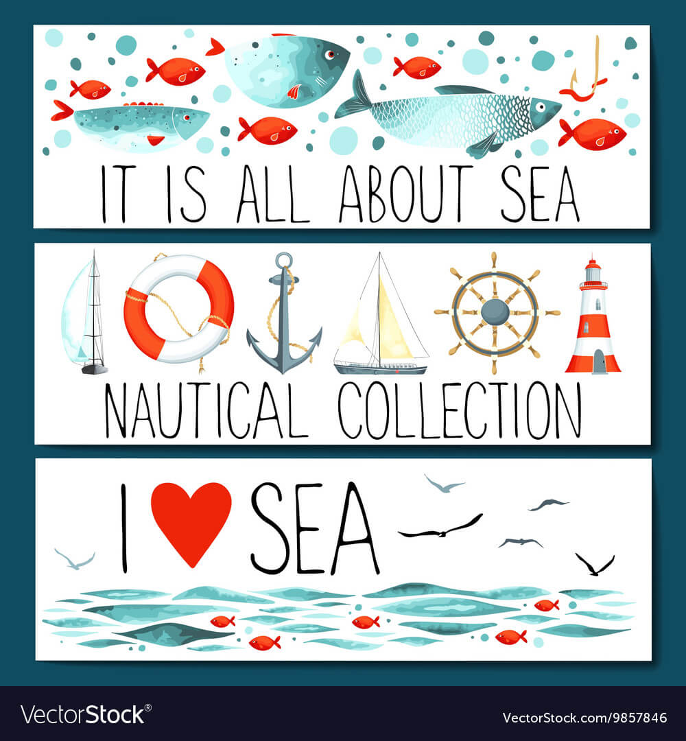Horizontal Banner Templates With Nautical Elements Pertaining To Nautical Banner Template