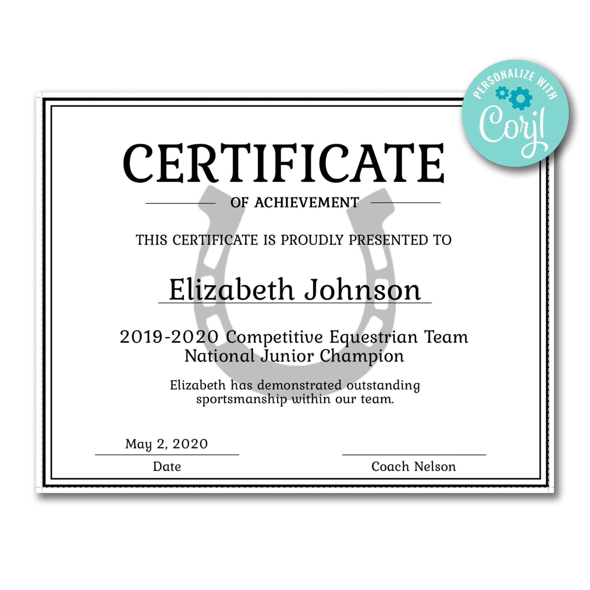Horseshoe Certificate | Certificate Templates, Certificate Inside Softball Certificate Templates