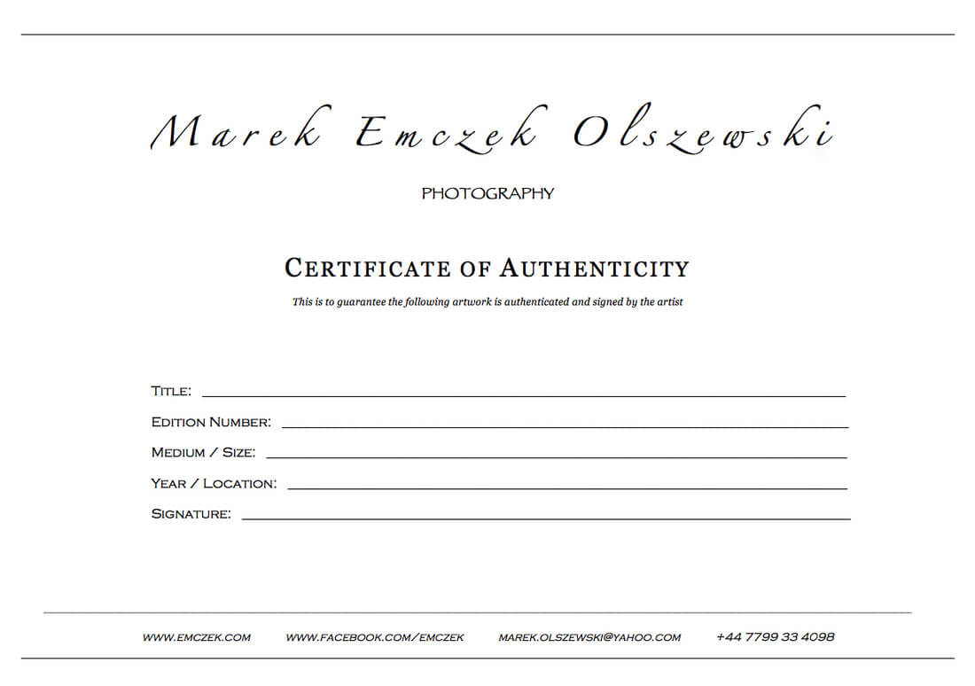 How To Create A Certificate Of Authenticity For Your Photography Within Photography Certificate Of Authenticity Template