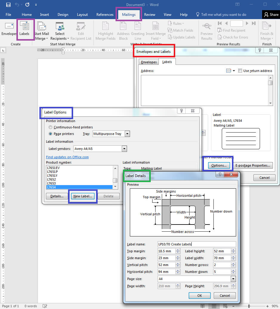 How To – How To Create Your Own Label Templates In Word Intended For Labels 8 Per Sheet Template Word