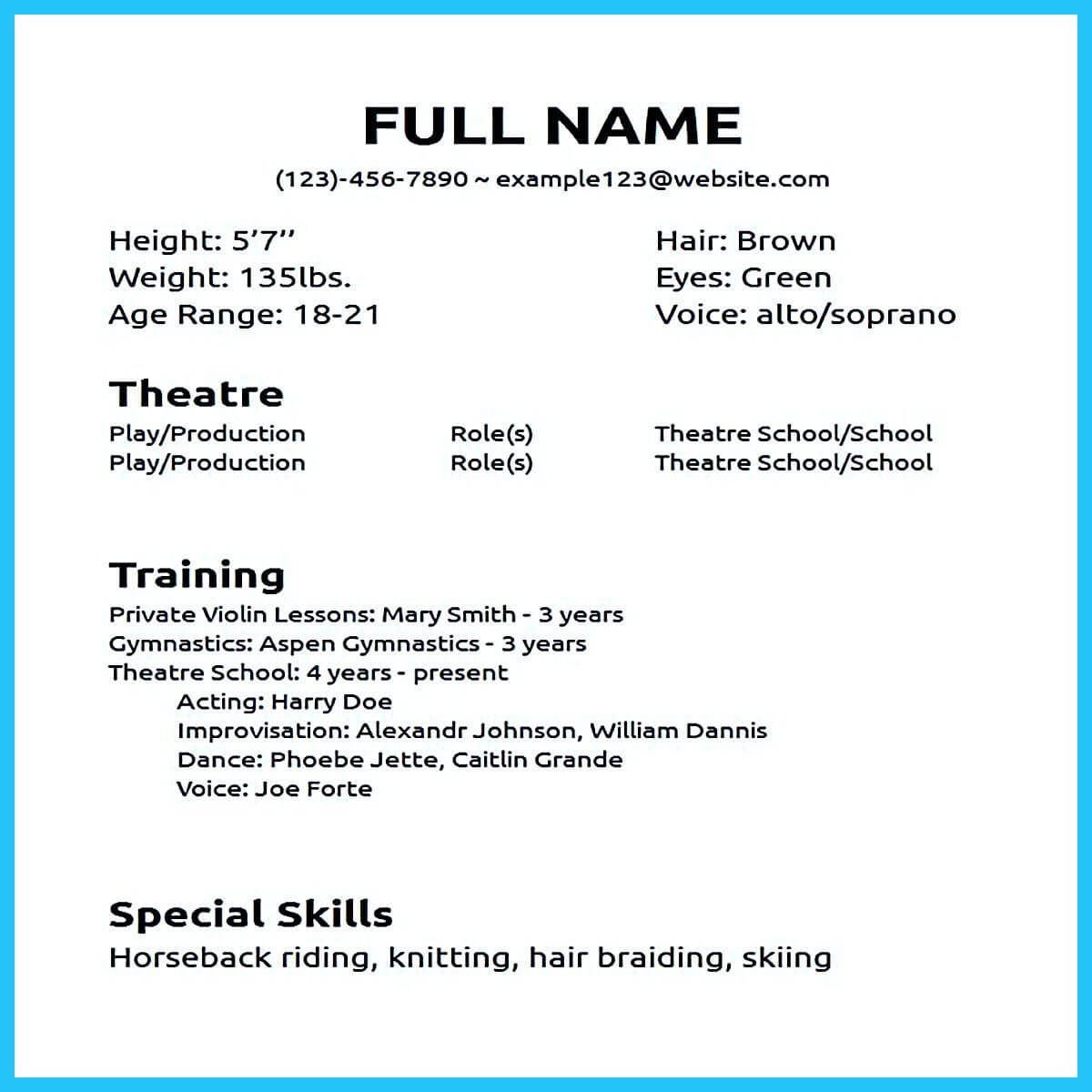 How To Make An Acting Resume With No Experience – Ironi In Theatrical Resume Template Word