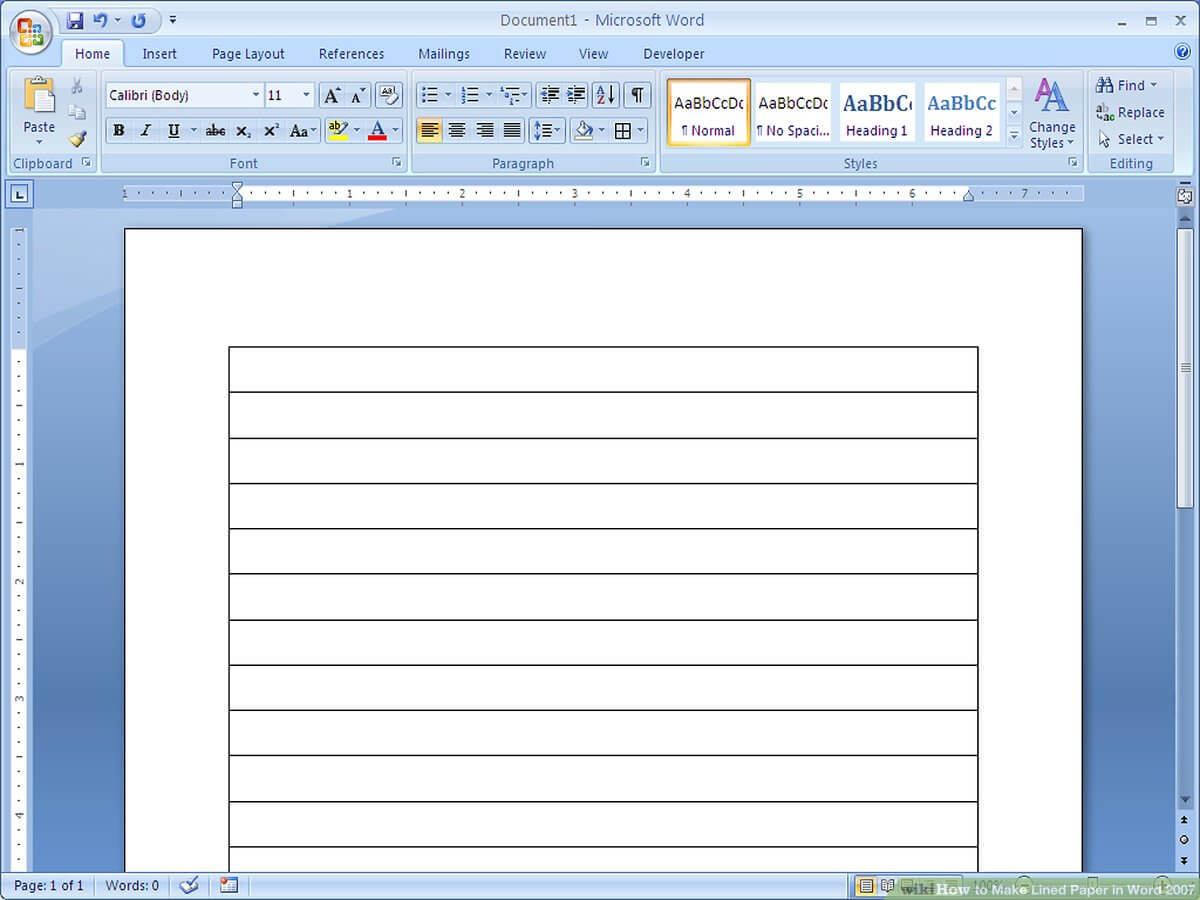 How To Make Lined Paper In Word 2007: 4 Steps (With Pictures) Throughout Notebook Paper Template For Word 2010