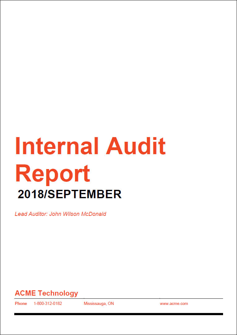 How To Prepare A High Impact Internal Audit Report Inside Internal Audit Report Template Iso 9001