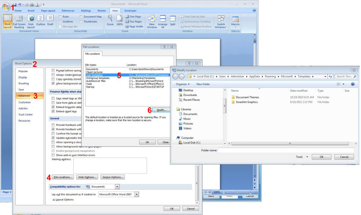 How To Reset Word 2007/2010/2013 Settings Without Intended For Word 2010 Template Location