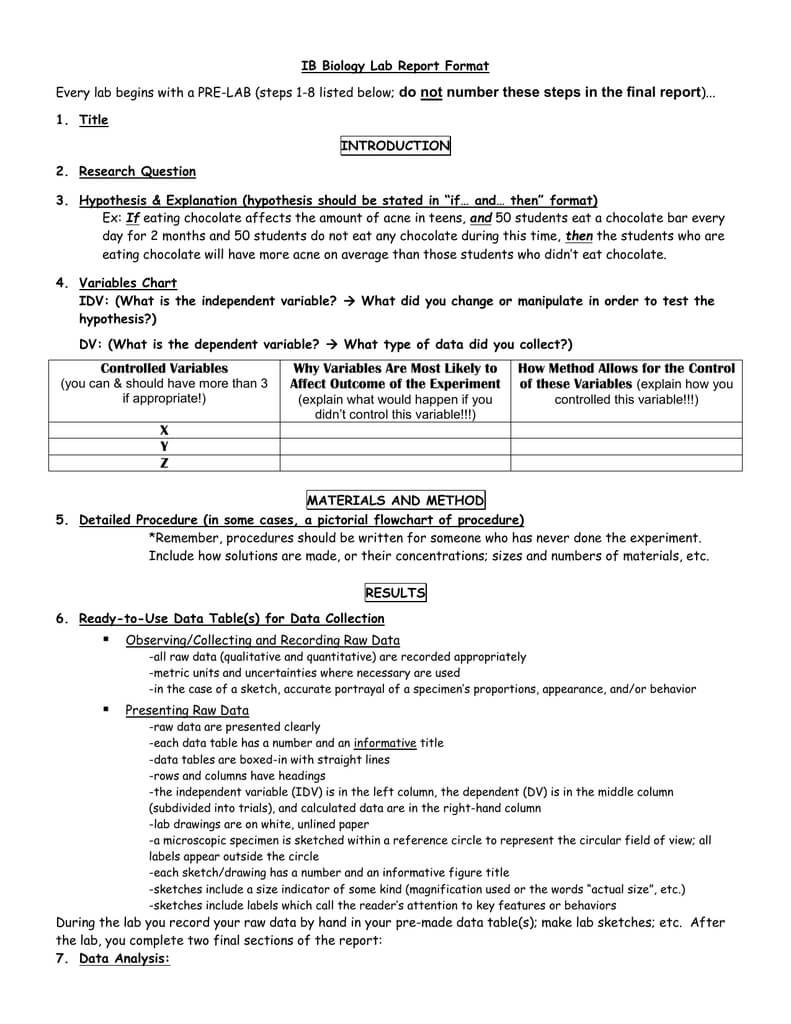 Ib Biology Lab Report Format Pertaining To Biology Lab Report Template