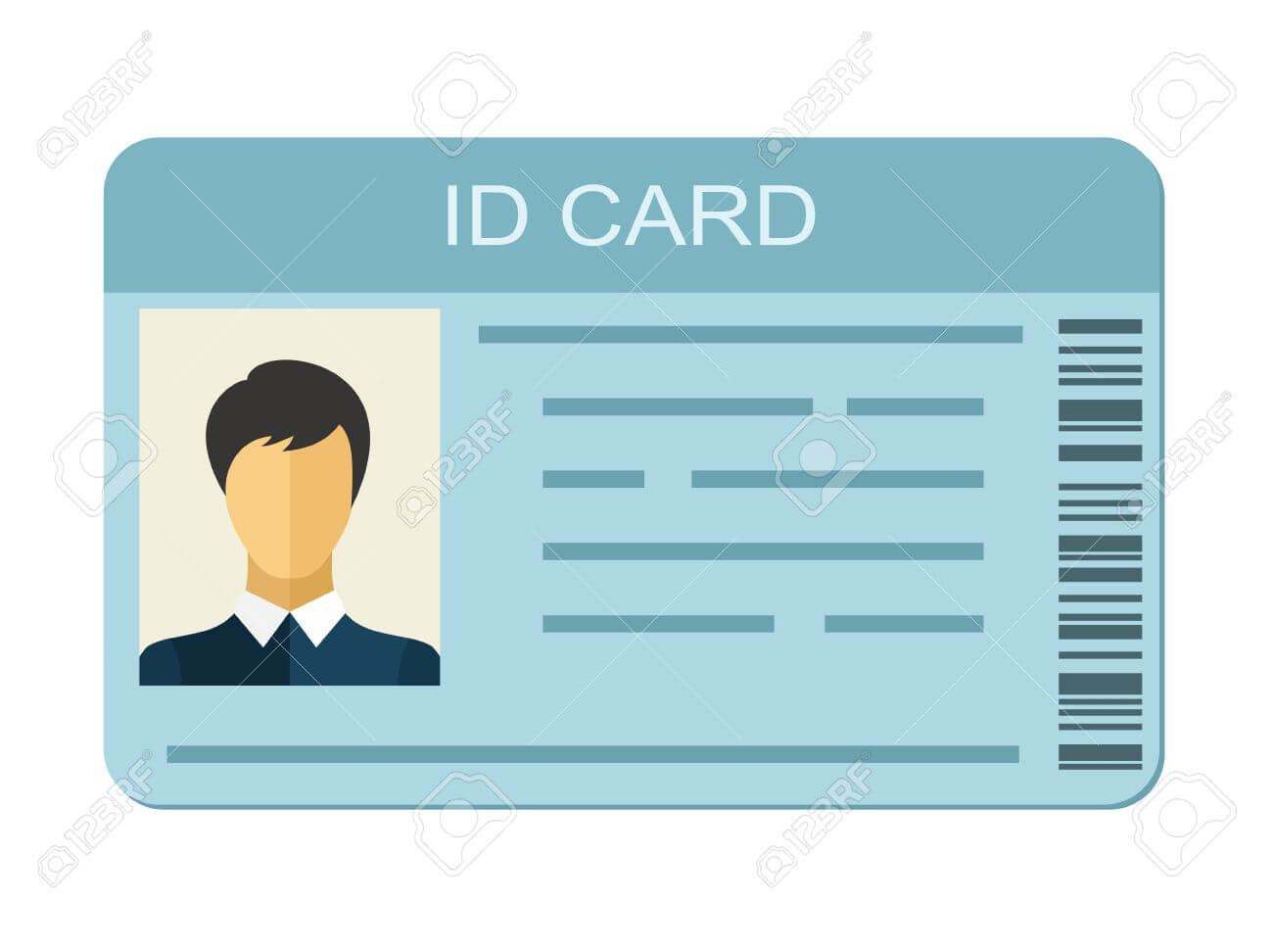 Id Card Isolated On White Background. Identification Card Icon Within Personal Identification Card Template