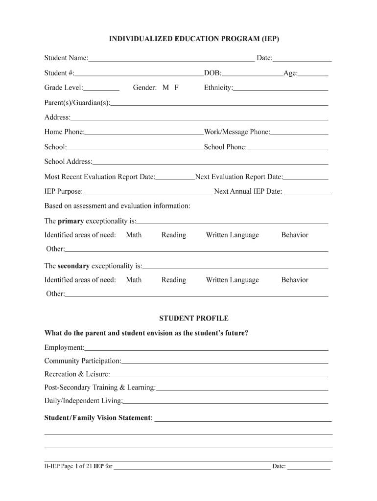 Iep Form – Fill Online, Printable, Fillable, Blank | Pdffiller Pertaining To Blank Iep Template