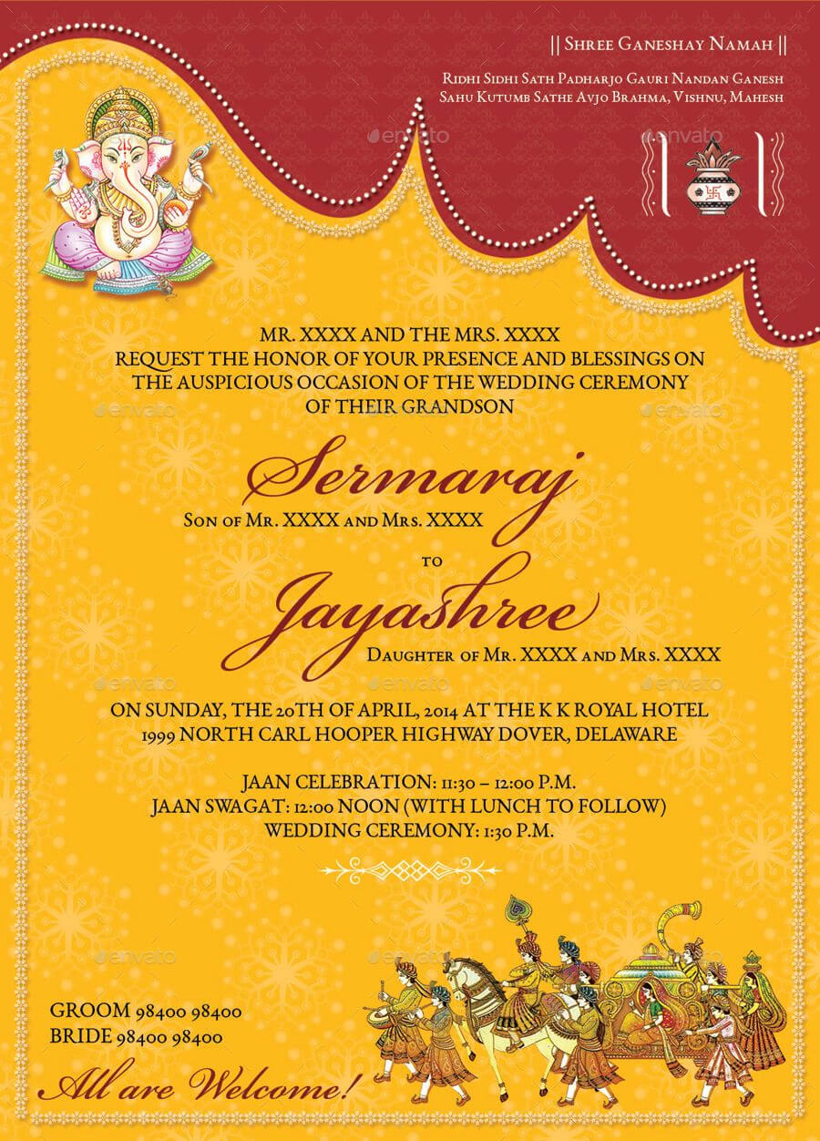 Image For Hindu Wedding Invitations Templates In 2020 Intended For Indian Wedding Cards Design Templates