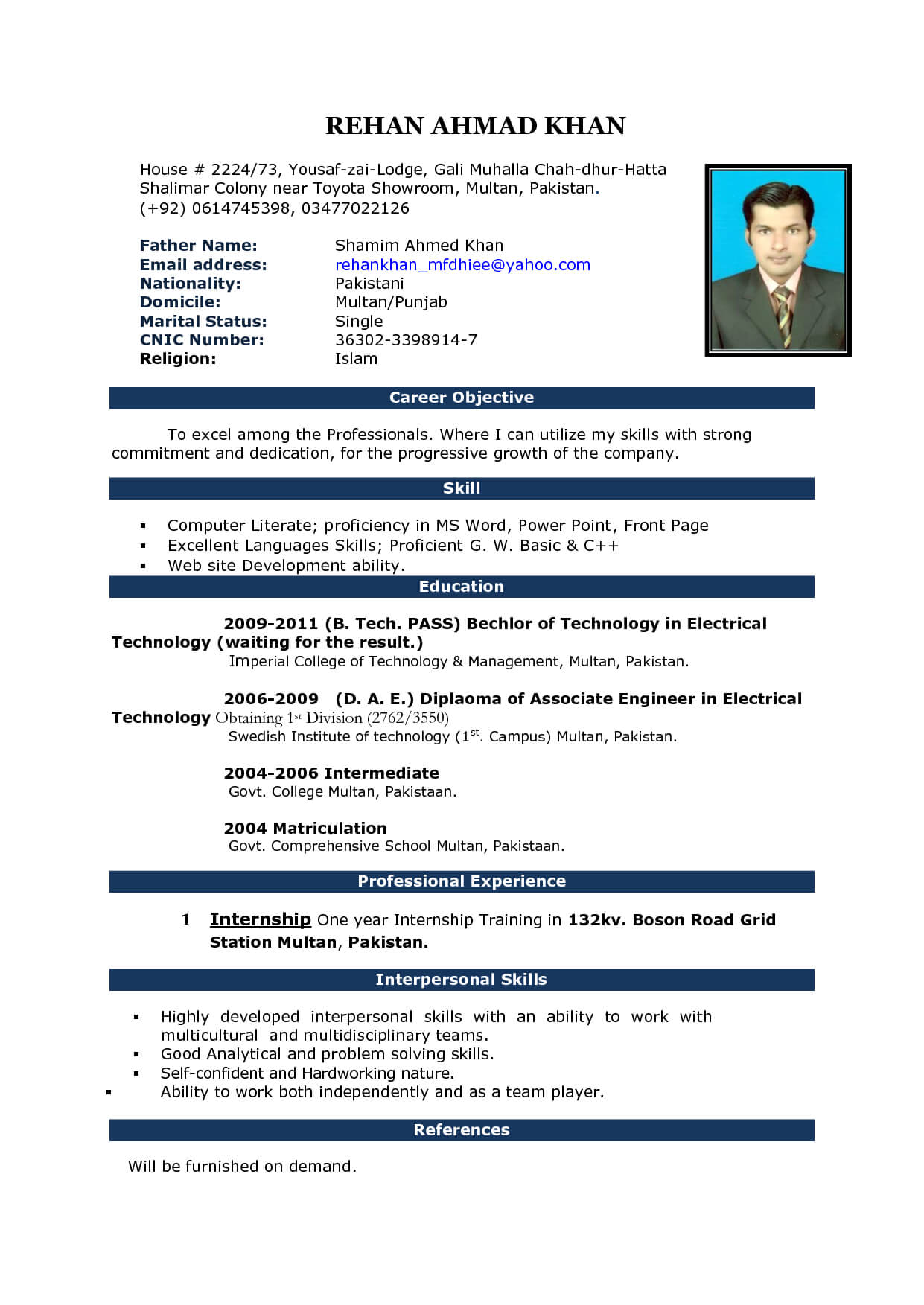 Image Result For Cv Format In Ms Word 2007 Free Download For Resume Templates Word 2007