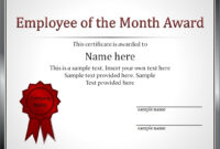 Impressive Employee Of The Month Award And Certificate Throughout Employee Of The Month Certificate Template With Picture