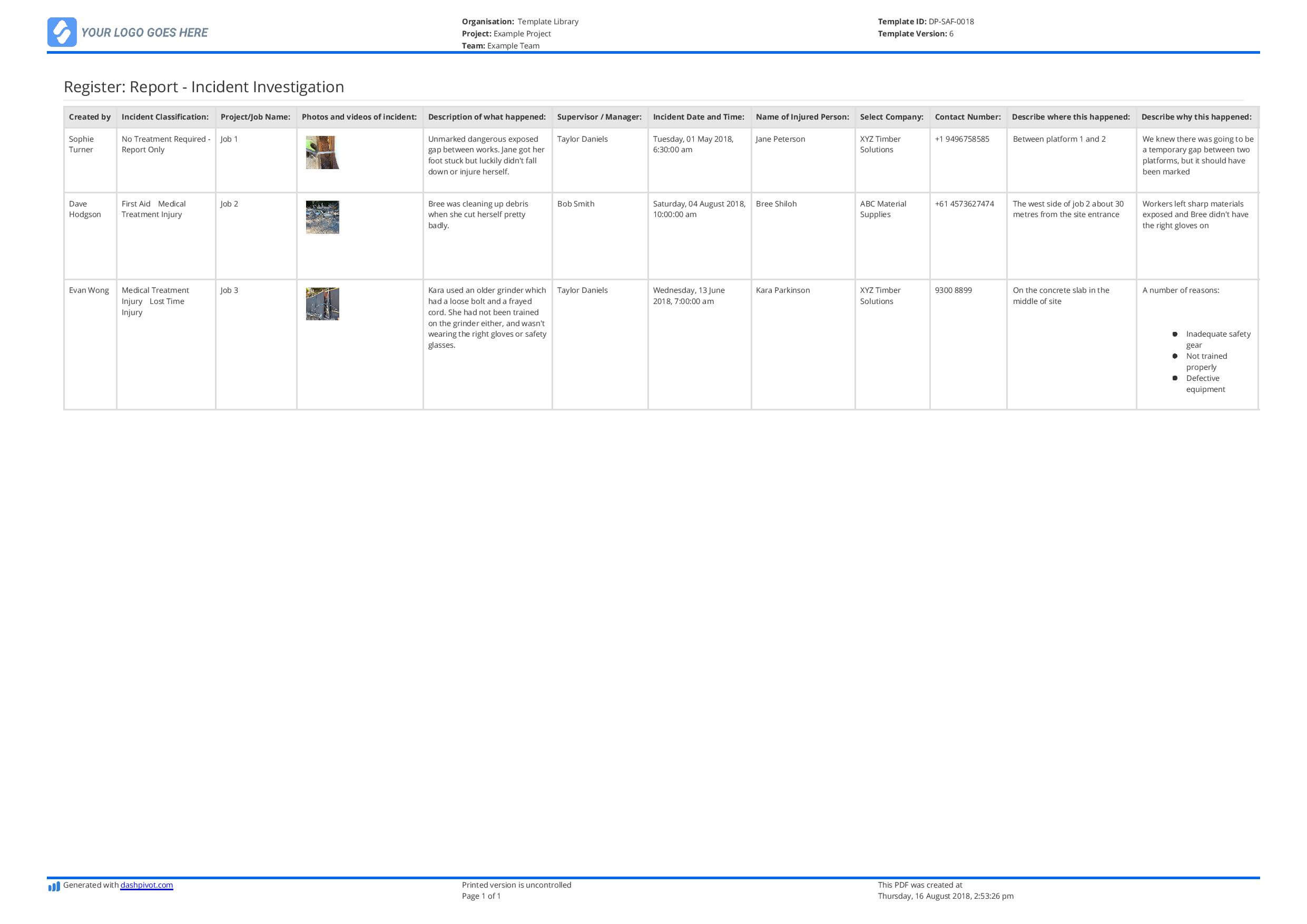 Incident Register Template (Better Than Excel) - Free And Inside Incident Report Register Template