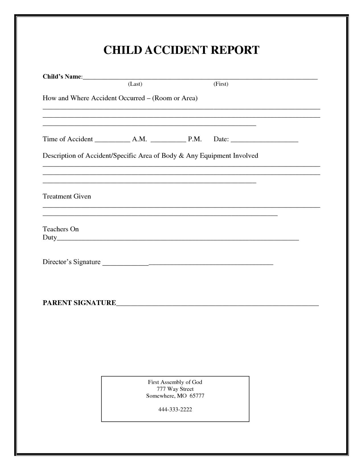 Incident Report Form Child Care | Child Accident Report Throughout Incident Report Form Template Qld