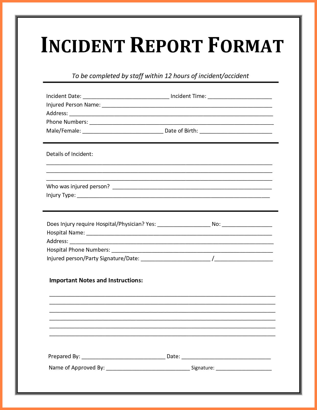 Incident Report Template - Free Incident Report Templates Throughout Generic Incident Report Template