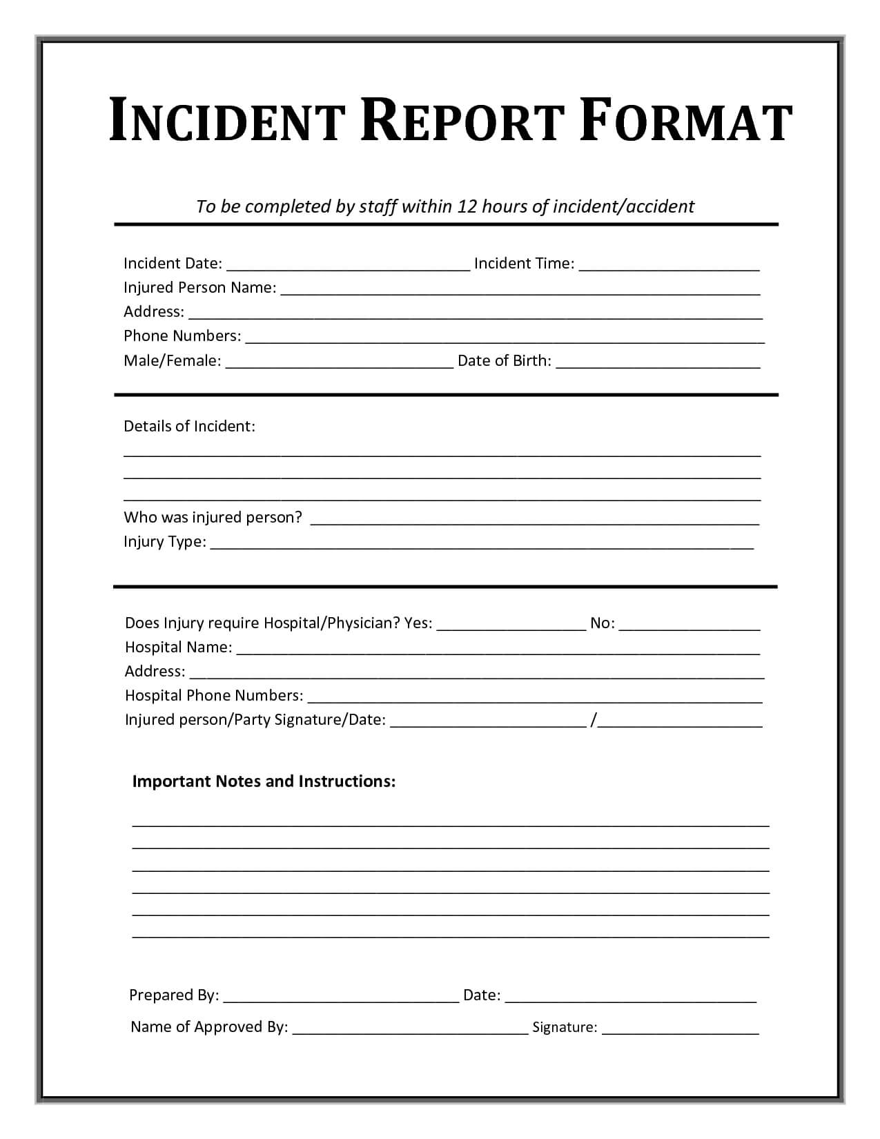 Incident Report Template | Incident Report Form, Incident For Generic Incident Report Template