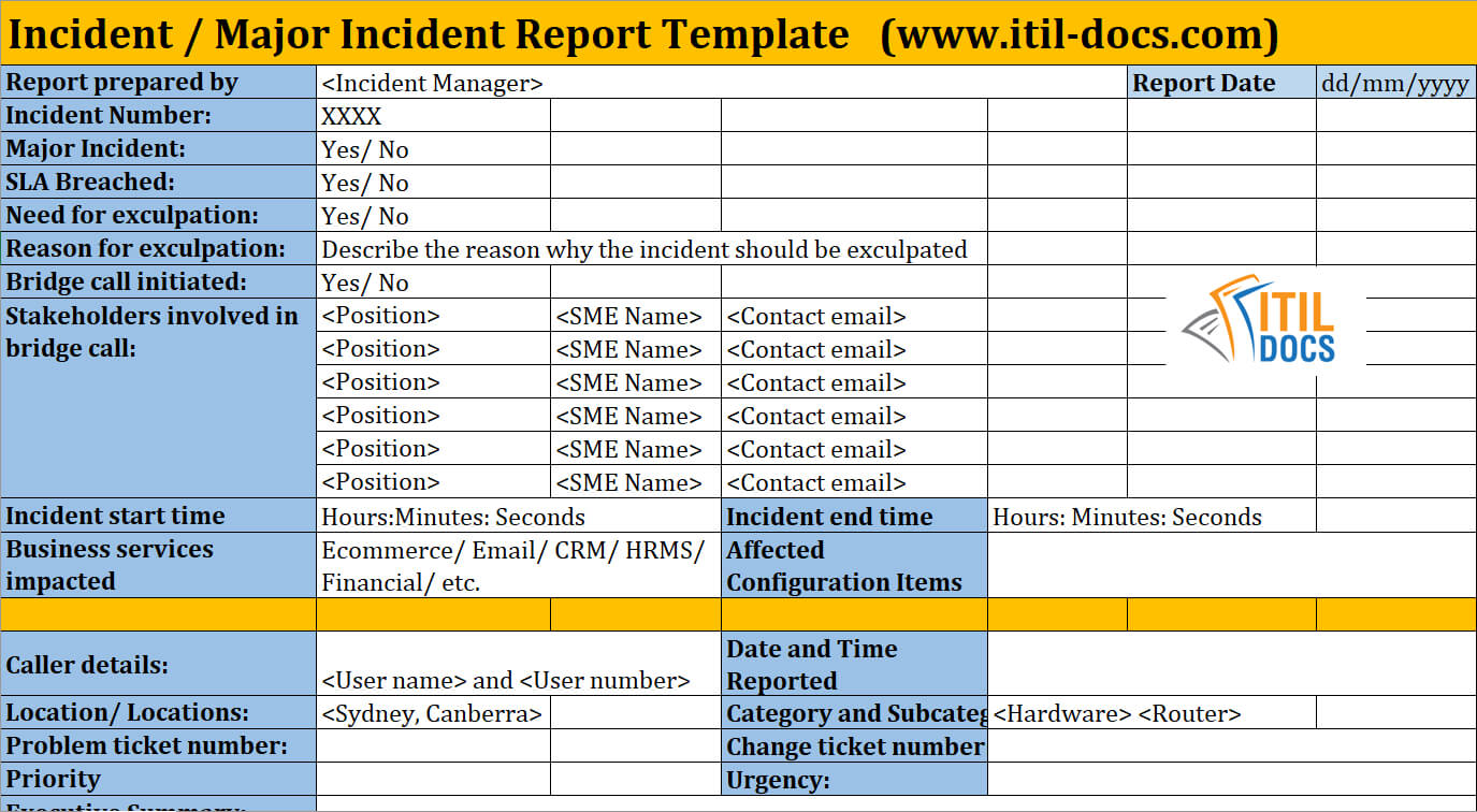 Incident Report Template | Major Incident Management – Itil Docs With Incident Report Template Itil