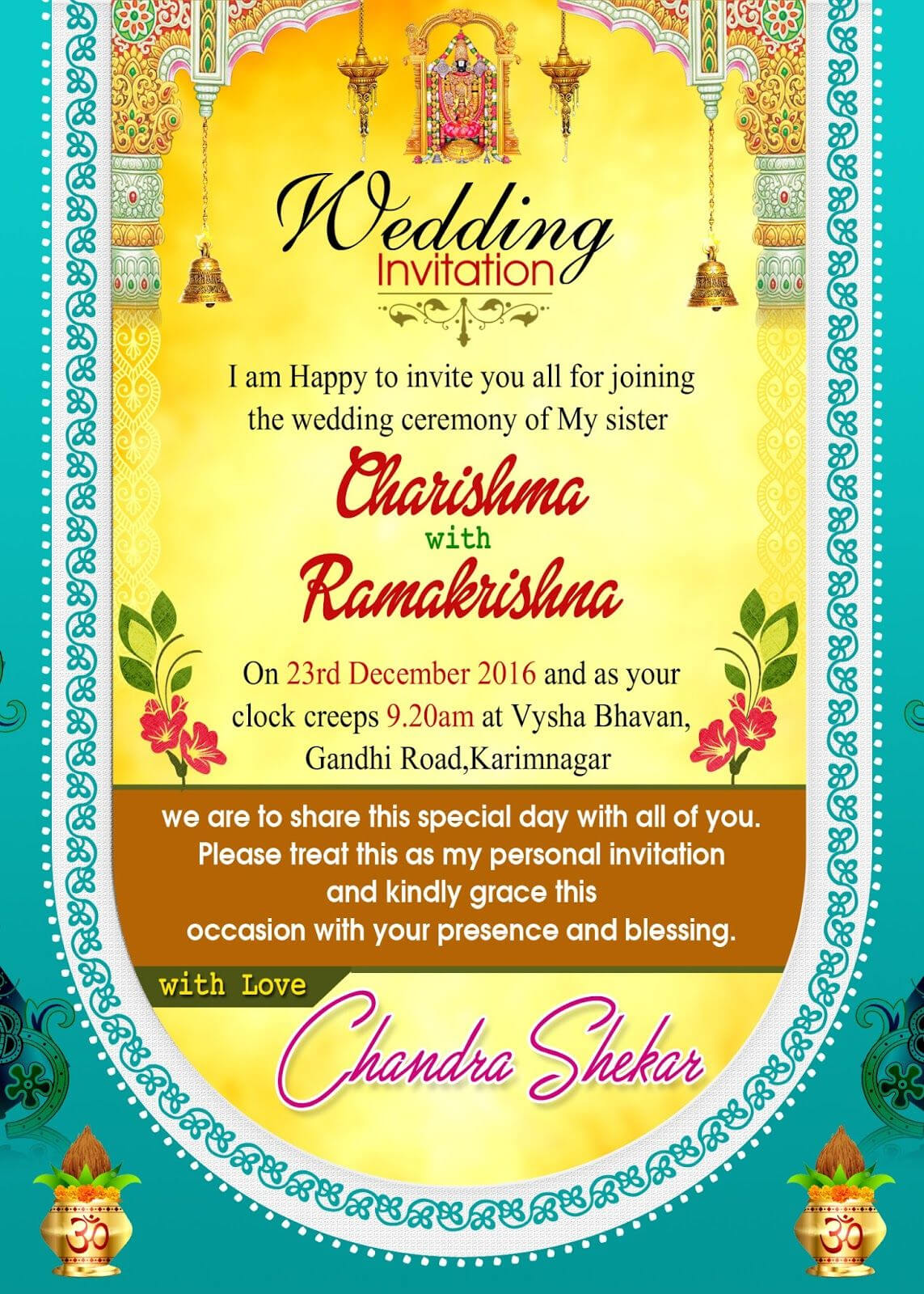 Indian Wedding Invitation Wordings Psd Template Free For Throughout Indian Wedding Cards Design Templates