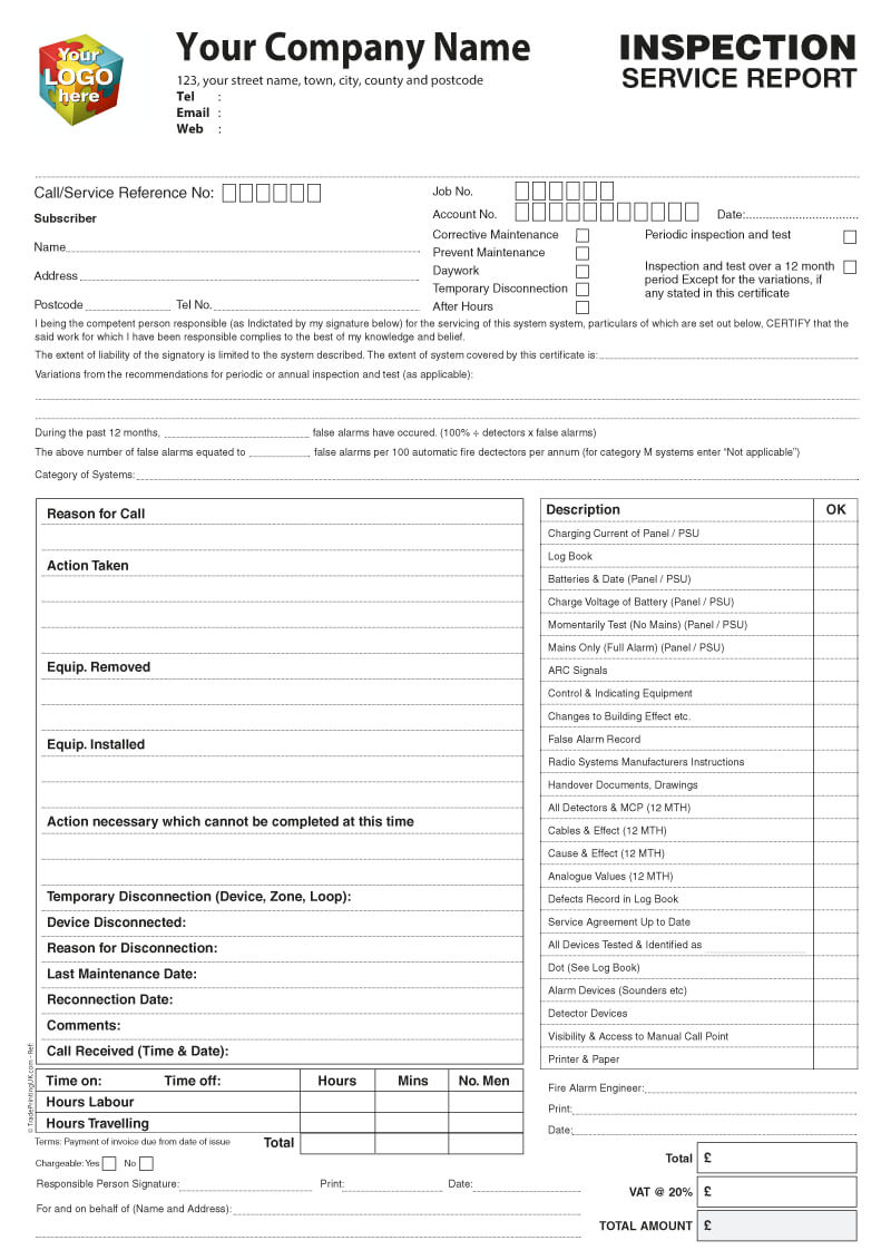 Inspection Service Report Template Artwork For Ncr Printed For Ncr Report Template