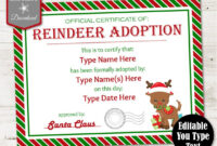 Instant Download Editable Reindeer Adoption Certificate/ You In Child Adoption Certificate Template