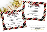 Instant Download – Softball Certificate Of Achievement for Softball Certificate Templates