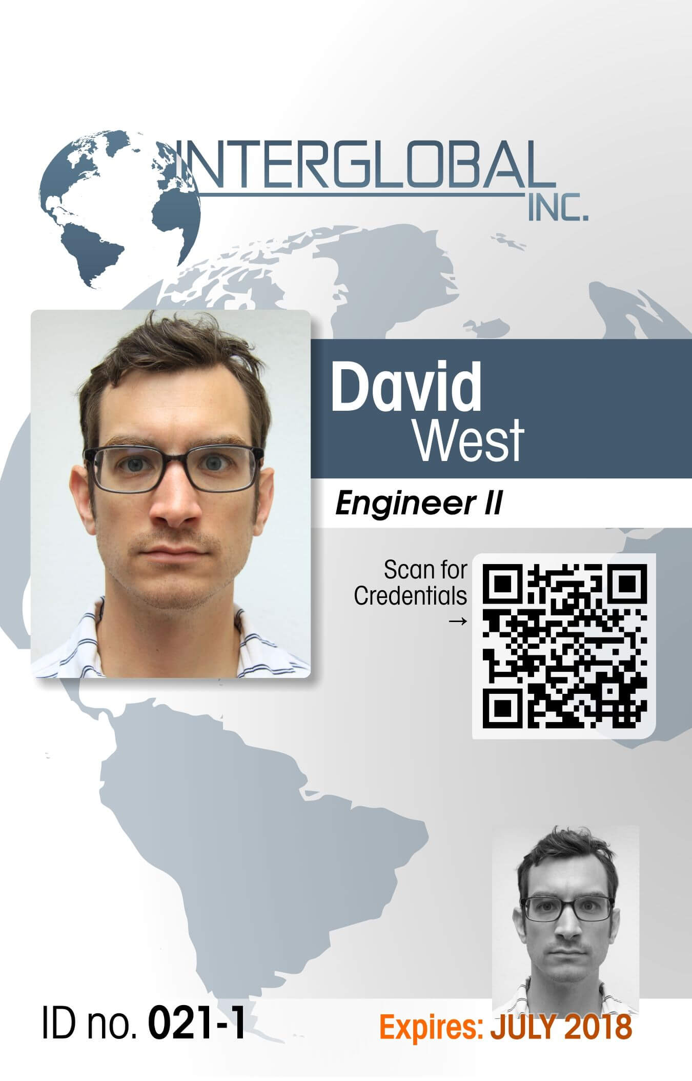 Interglobal Portrait Id Card With Qr Code Credential With Portrait Id Card Template