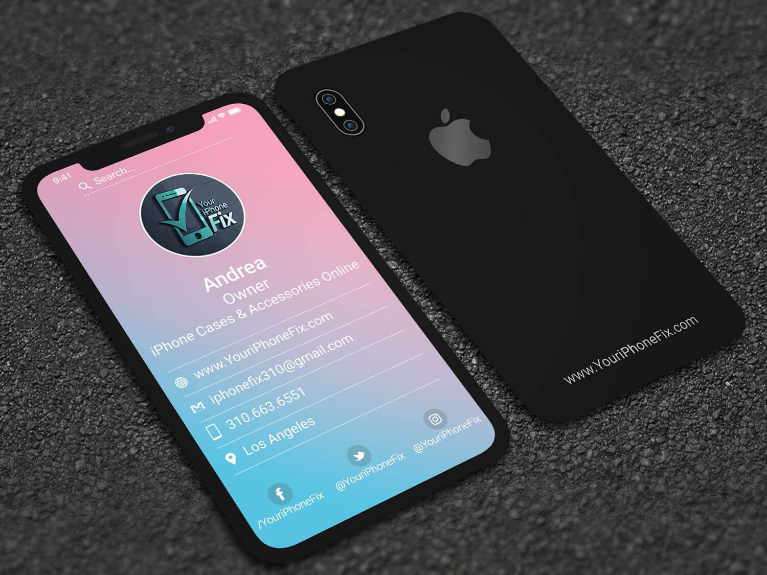 Iphone X Style Business Card | Professional Business Card With Iphone Business Card Template