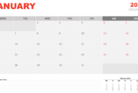 January 2020 Calendar For Powerpoint And Google Slides Pertaining To Microsoft Powerpoint Calendar Template