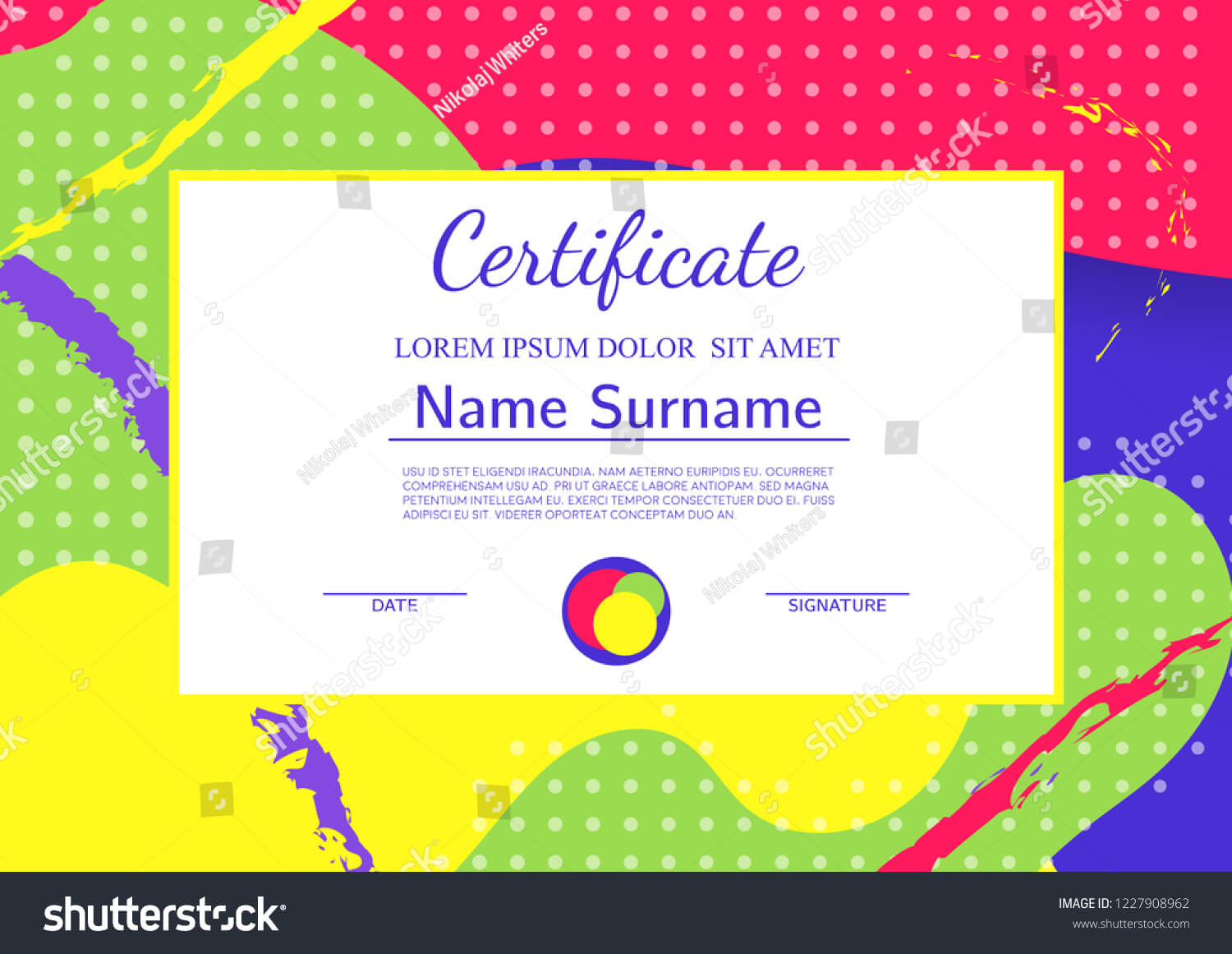 Kids Diploma Certificate Template Abstract Shapes Stock Inside Fun Certificate Templates