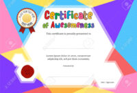 Kids Diploma Or Certificate Template With Colorful Background inside Free Kids Certificate Templates
